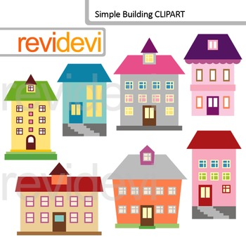 Clip Art Building - School building, houses, apartments digital clipart