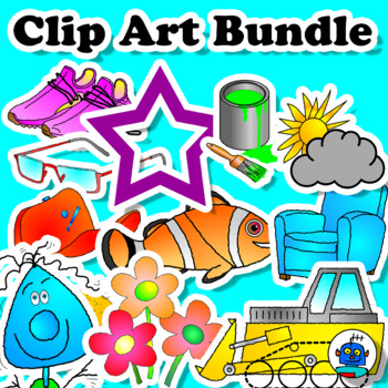 Clip Art Bundle. Clothes, Transport, Colors, Food, Shapes, Weather, Furniture