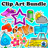Clip Art Bundle. Clothes, Transport, Colors, Food, Shapes,