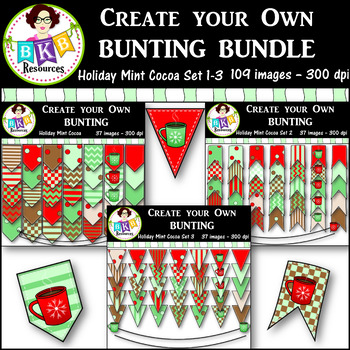 Clip Art Bundle ● Create Your Own Bunting Sets 1-3 ● Products for TpT Sellers