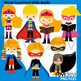 Clip Art Bundle Multicultural Superhero Standing