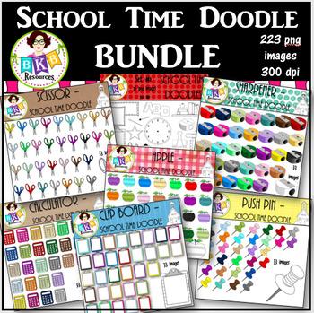 Clip Art Bundle ● School Time Doodles ● Graphics ●