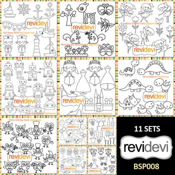 Clip Art Bundle for teacher seller (black and white outline)