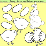 Clip Art Bunny, Beans, and Babies in black and white