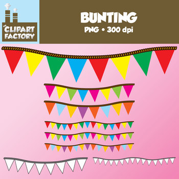 Clip Art: Bunting - Digital Bunting in Assorted colors and black and white