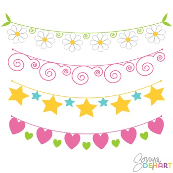 Clipart - Bunting Flowers Hearts Stars Swirls