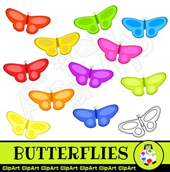 Clip Art Butterflies Wildlife Nature Set
