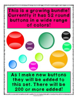 Clip Art - Buttons and More Buttons - Growing Bundle with Easy Commercial TOU