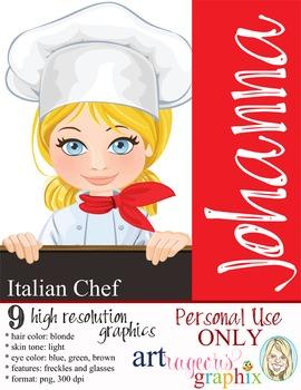 Clip Art - CHEF JOHANNA - female, girl, student, digital graphics - cooking