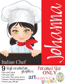 Clip Art - CHEF JOHANNA - female, girl, student, digital g