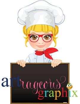 Clip Art - CHEF SAVANNAH - female, girl, student, digital graphics - cooking