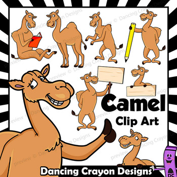 Clip Art Camel   Clipart Dromedary in Cartoon Style with Signs