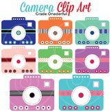 Camera Clipart, Pink Blue Green Purple Cameras