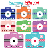 Camera Clipart, Pink Blue Green Purple Cameras