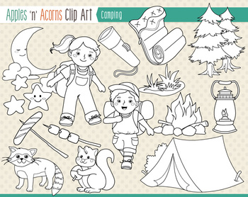 Camping Clip Art - color and outlines