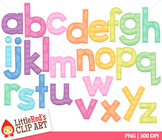 Clip Art: Candy Colors Pastel Lowercase Letters with Punct