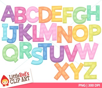 Clip Art: Candy Colors Pastel Uppercase Letters with Punctuation Clipart