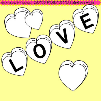 Clip Art Candy Heart Letters black and white