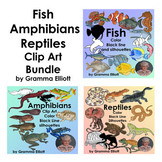 Bundle Fish Amphibians and Reptiles - Semi - Realistic Clip Art