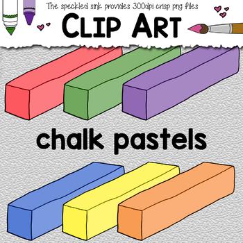 Clip Art Chalk Pastels. School Supply clipart. Art Supplies.