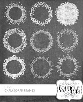 Clip Art Chalk Round Borders Frames