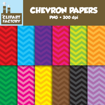 Clip Art: Chevron Backgrounds - 12 Digital Papers
