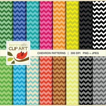 Clip Art: Chevron Pattern in bright multi colors - 32 Digital Papers