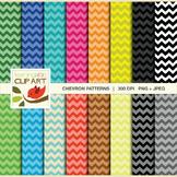 Clip Art: Chevron Pattern in bright multi colors - 32 Digi