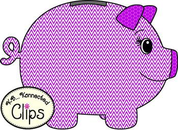 Clip Art - Chevron Piggy Banks