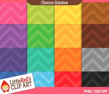 Clip Art: Chevron Rainbow Backgrounds - 16 Digital Papers