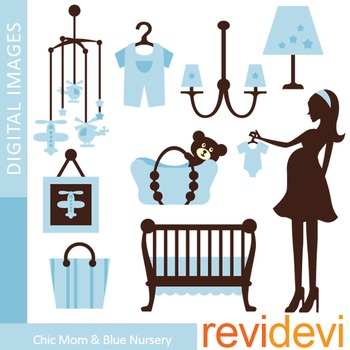 Clip Art: Chic Mom To Be and Blue Nursery