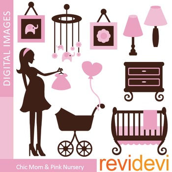 Clip Art: Chic Mom To Be and Pink Nursery