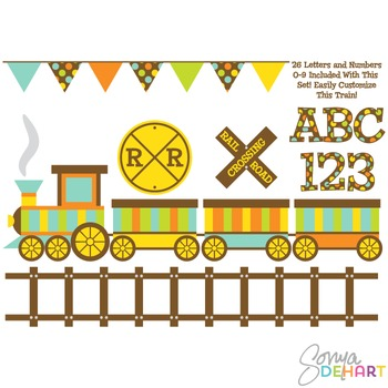 Clipart - Train and Digital Alphabet