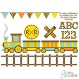 Clipart - Train and Digital Alphabet