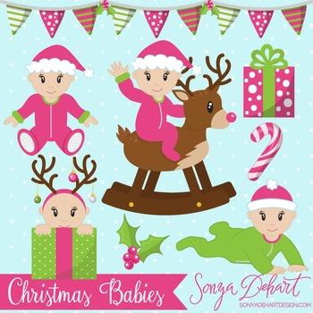 Clip Art: Christmas Baby Girls