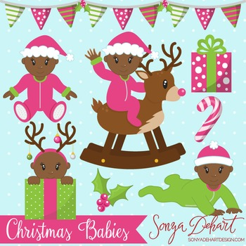 Clip Art: Christmas Baby Girls African American