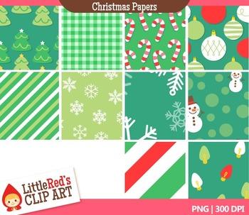 Clip Art: Christmas Backgrounds - 20 Digital Paper Patterns