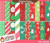 Christmas Backgrounds Digital Paper Patterns Clip Art