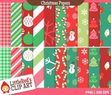 Clip Art: Christmas Backgrounds - 20 Digital Paper Patterns