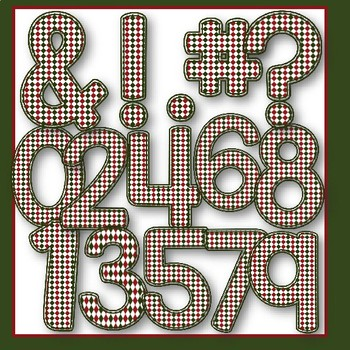 Clip Art: Christmas Checked Plaid letters- 67 letters and numbers
