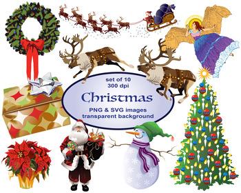 Clip Art Christmas, Digital ClipArt, Santa, Reindeer, Wreath, Christmas Tree