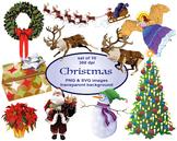 Clip Art Christmas, Digital ClipArt, Santa, Reindeer, Wrea