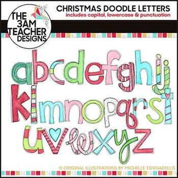 Clip Art: Christmas Doodle Letters - Over 100 Images!