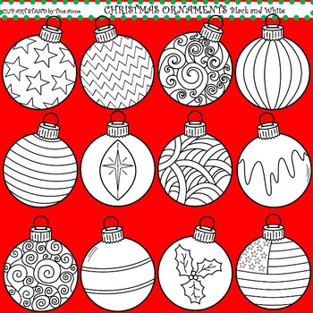 Clip Art Christmas Ornaments in black and white