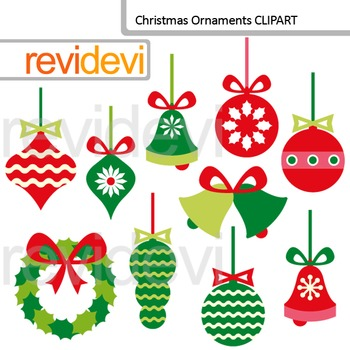 Clip Art Christmas Ornaments, red green clipart