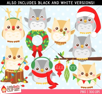 Christmas Owls Clipart - blacklines included