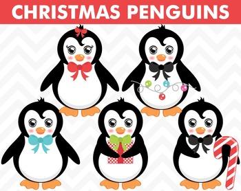Clipart - Christmas Penguins
