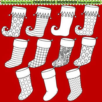 Clip Art Christmas Stockings black and white