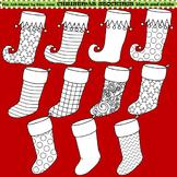 Clip Art Christmas Stockings black and white