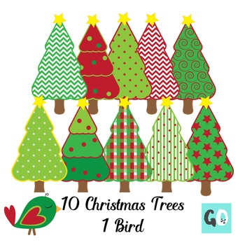 Christmas Trees Clipart,  Red, Green Patterns